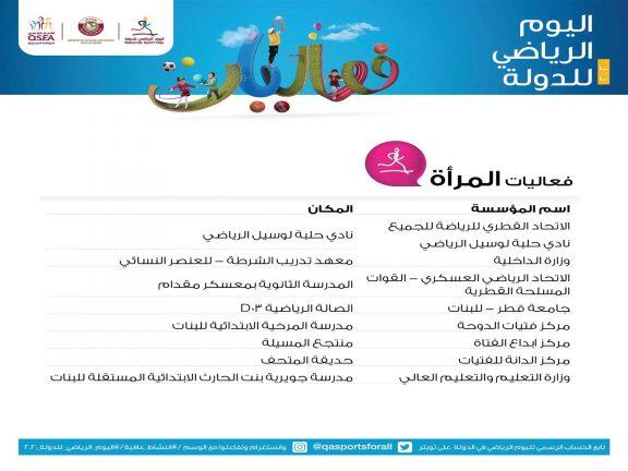 Photo of 8 مواقع لفعاليات المرأة باليوم الرياضي