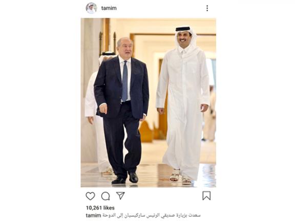 Photo of سعدت بزيارة صديقي الرئيس ساركيسيان إلى الدوحة