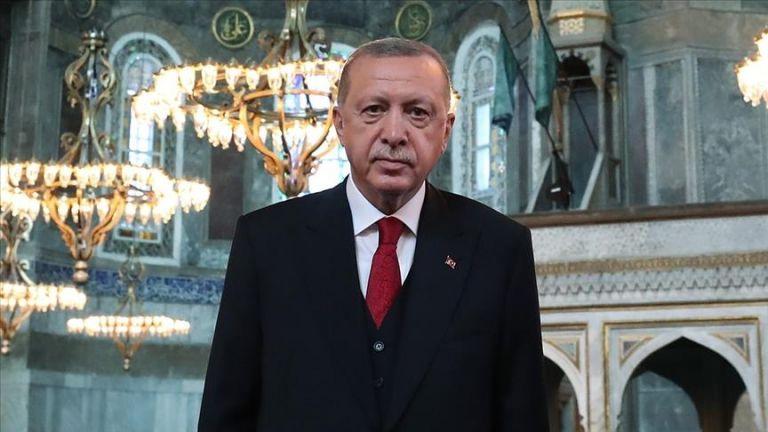 "Photo of الرئيس التركي يوجه رسالة تهنئة بالذكرى الأولى لإعادة فتح ""آيا صوفيا"""
