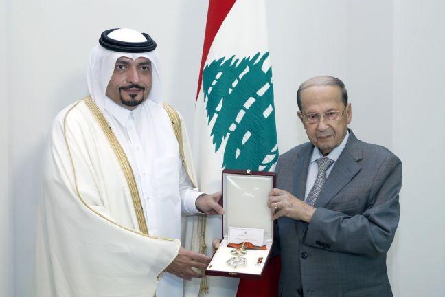 Photo of الرئيس اللبناني يستقبل سفير قطر